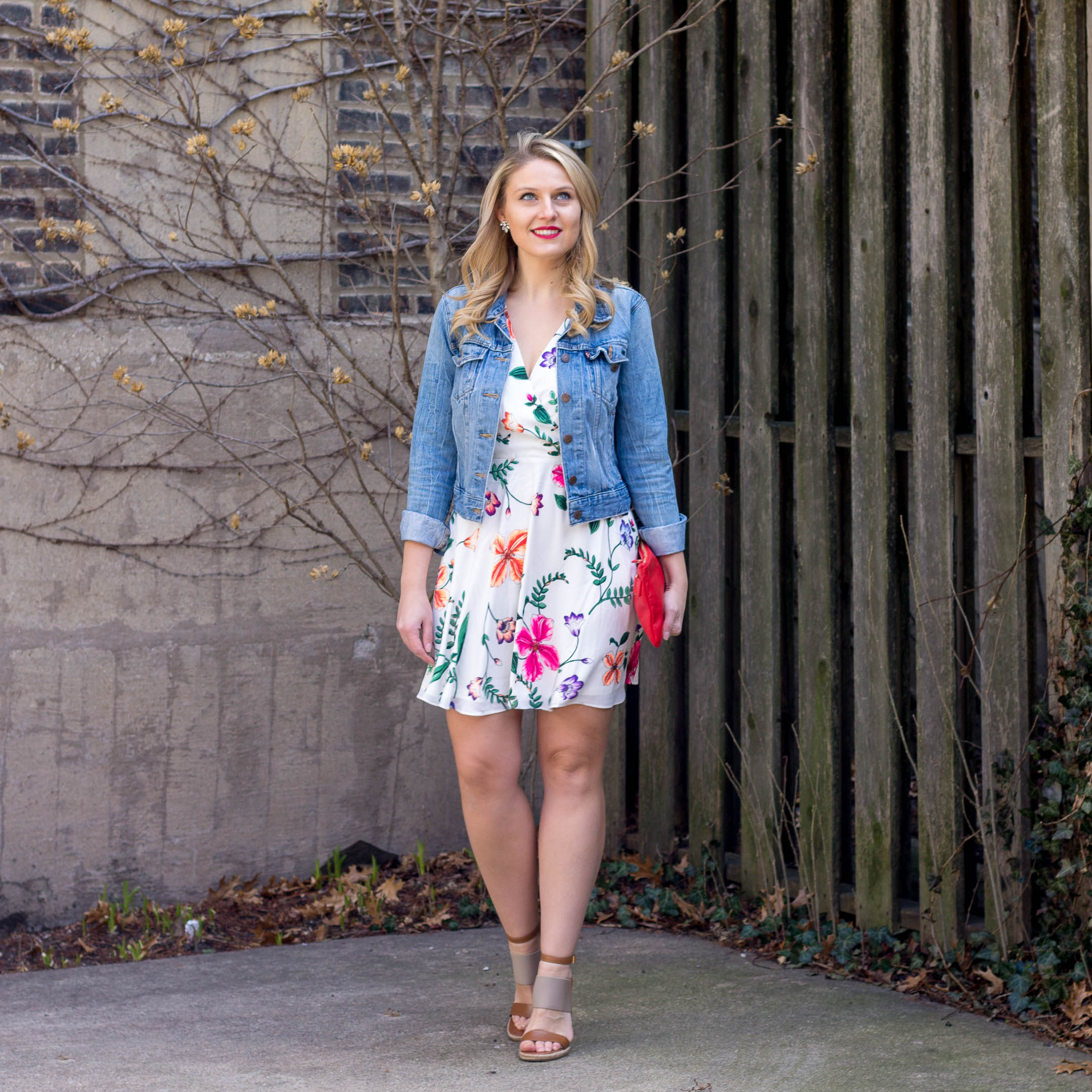 Express Floral Dress with a Levi Jean Jacket for my vacation style