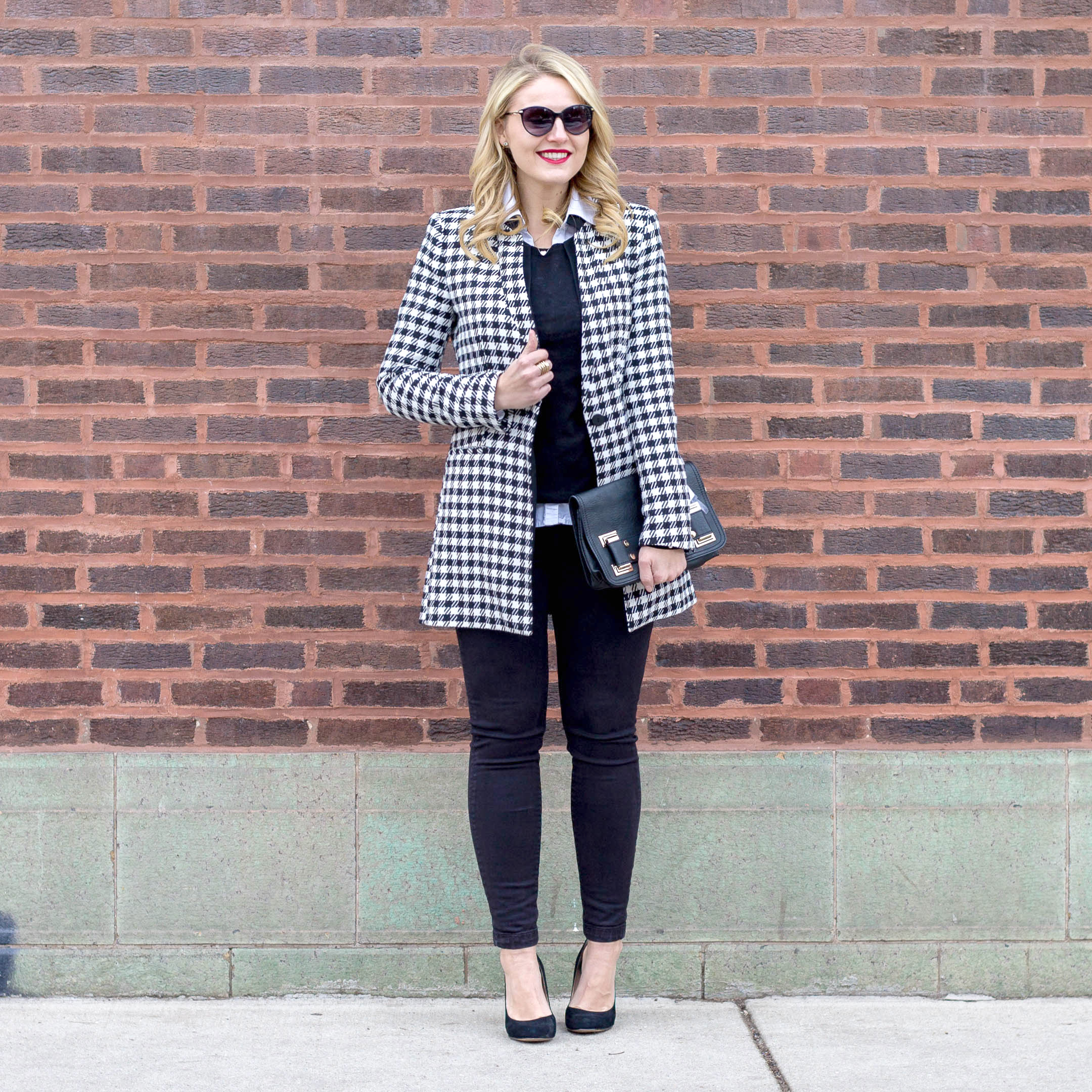 0a895e9c Zara Houndstooth Coat with an all black and white outfit