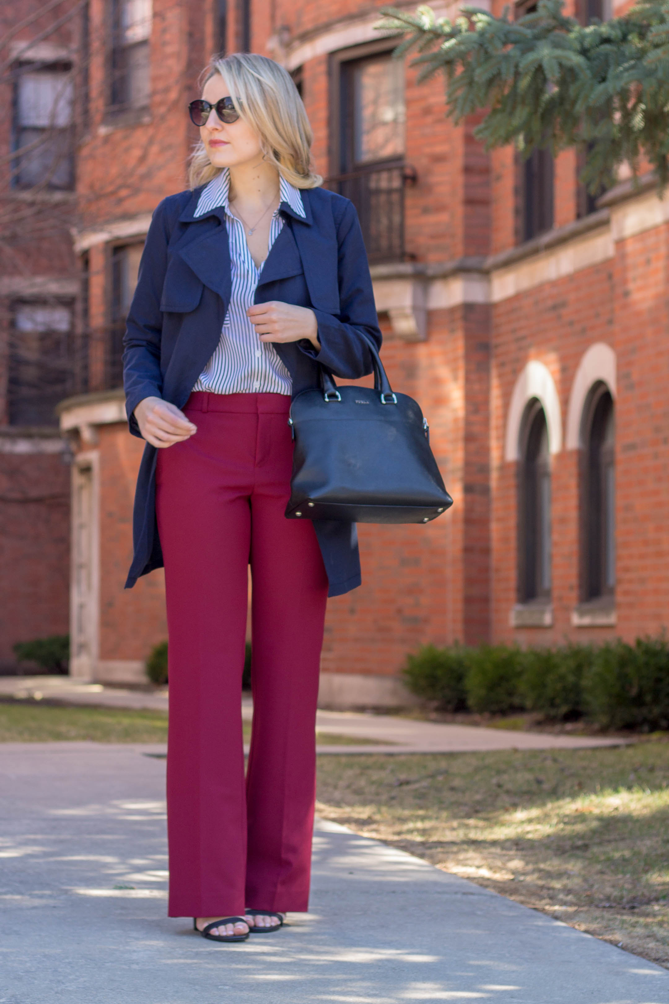 A banana republic red straight leg pant will be your new spring staple