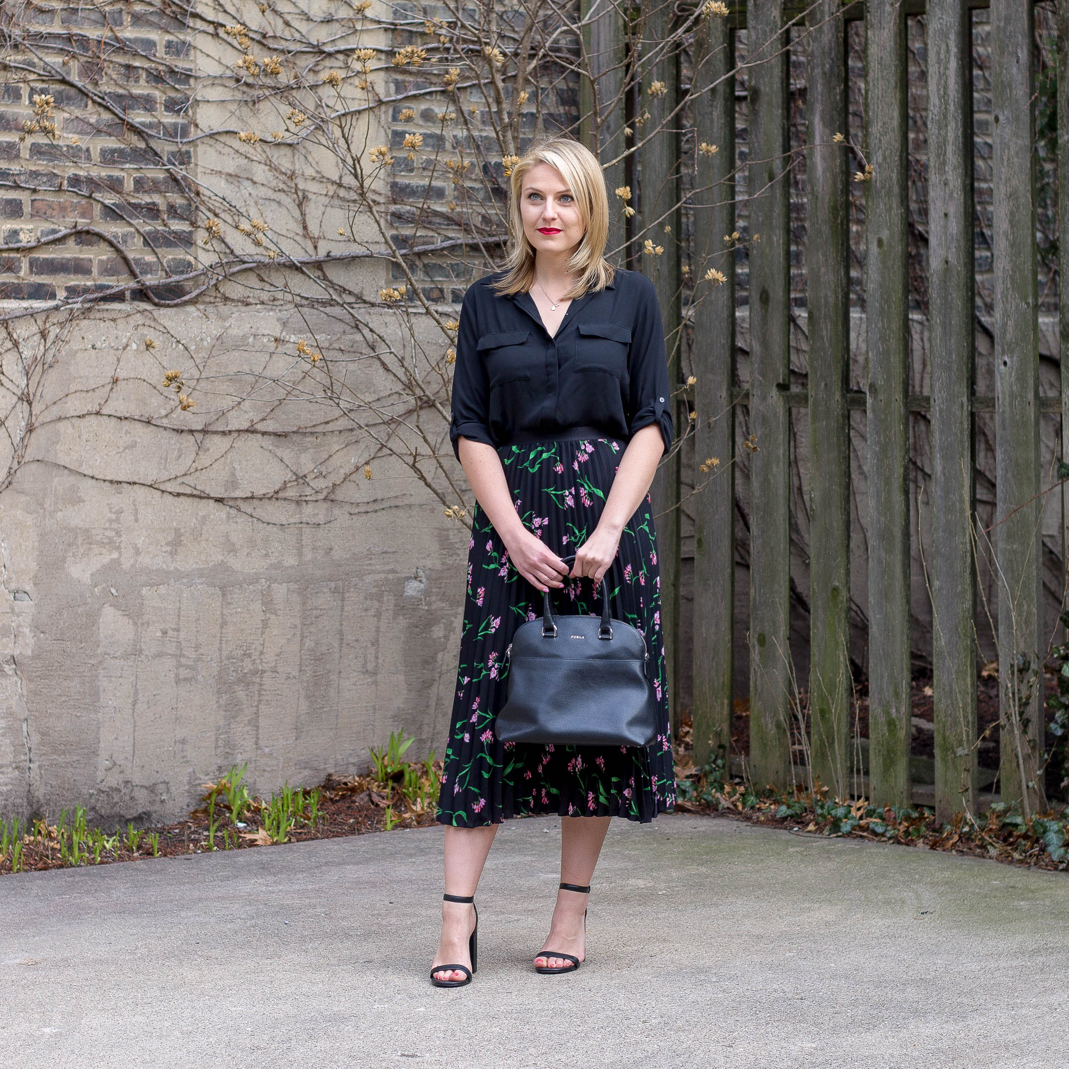 A simple blouse and midi skirt outfit for the spring season work place