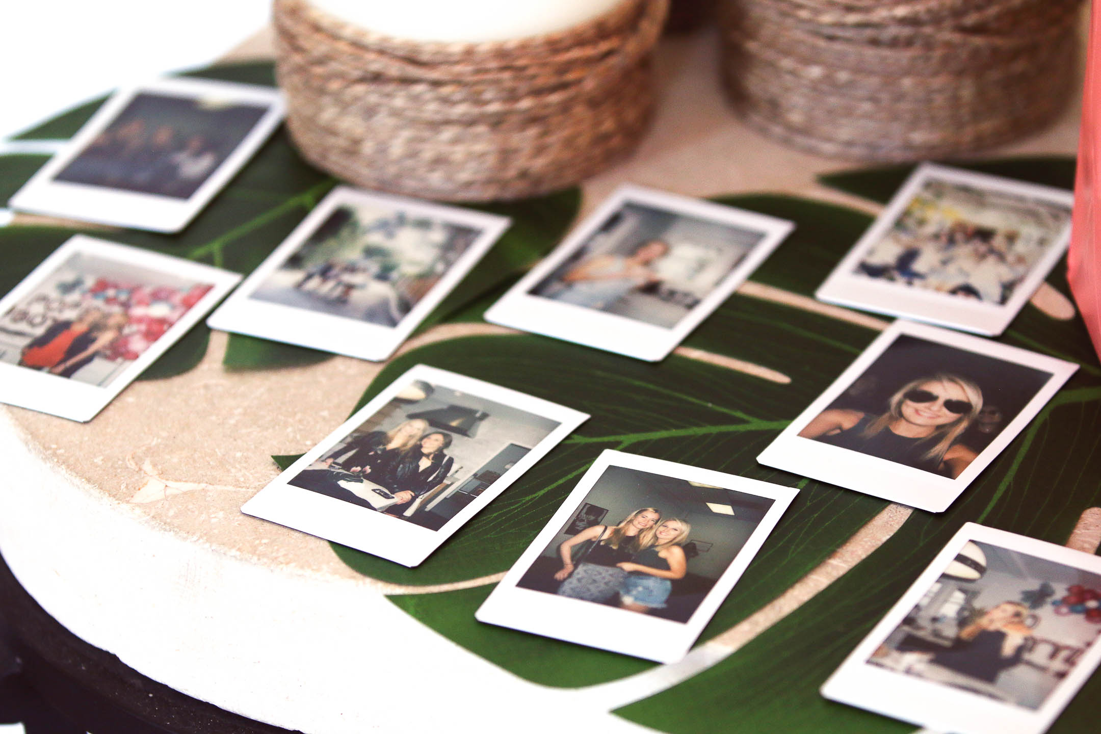 polaroid camera shots from a 30th birthday party