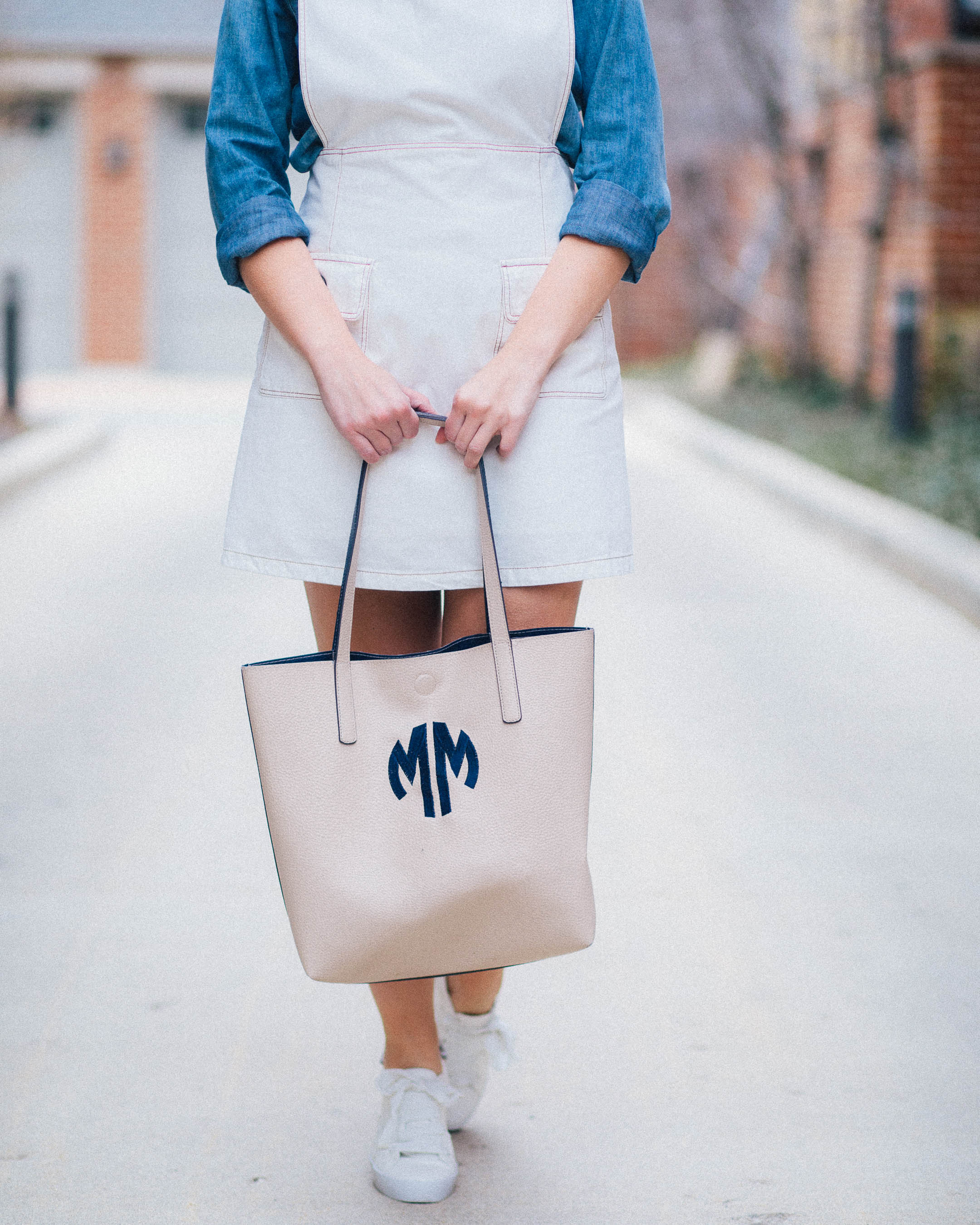 A monogram tote bag for the farmers market